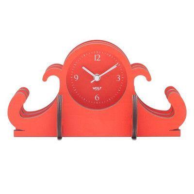 WOLF Wooden Jigsaw Mantel Clock Color: Orange