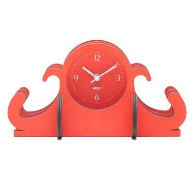 WOLF Wooden Jigsaw Mantel Clock Color: Orange