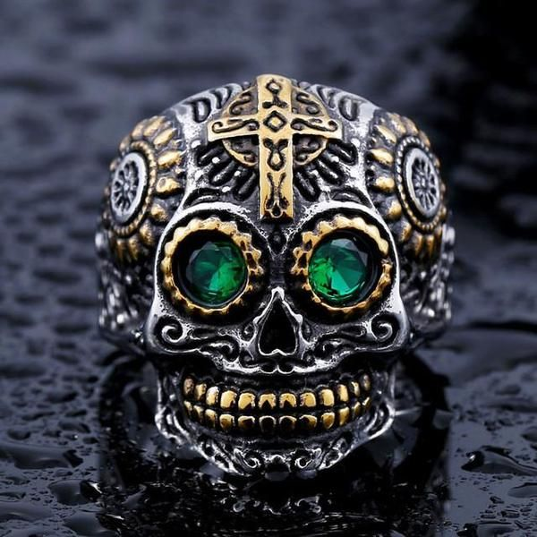 Designed for Bikers size 9 STAINLESS STEEL Sculptured RING with Accents