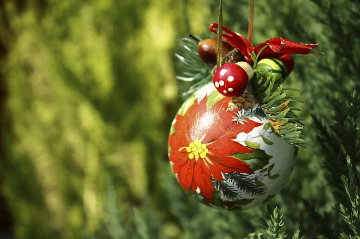 Handmade Christmas ball - Ceramic X-mas ball decorated with ribbon, artificial twig and autumn fruit. Would look great on your Christmas tree or hung from a window or doorway.