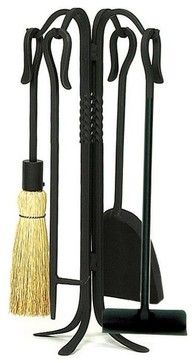 Shepherds Hook Fireplace Tool Set contemporary-fireplace-tools