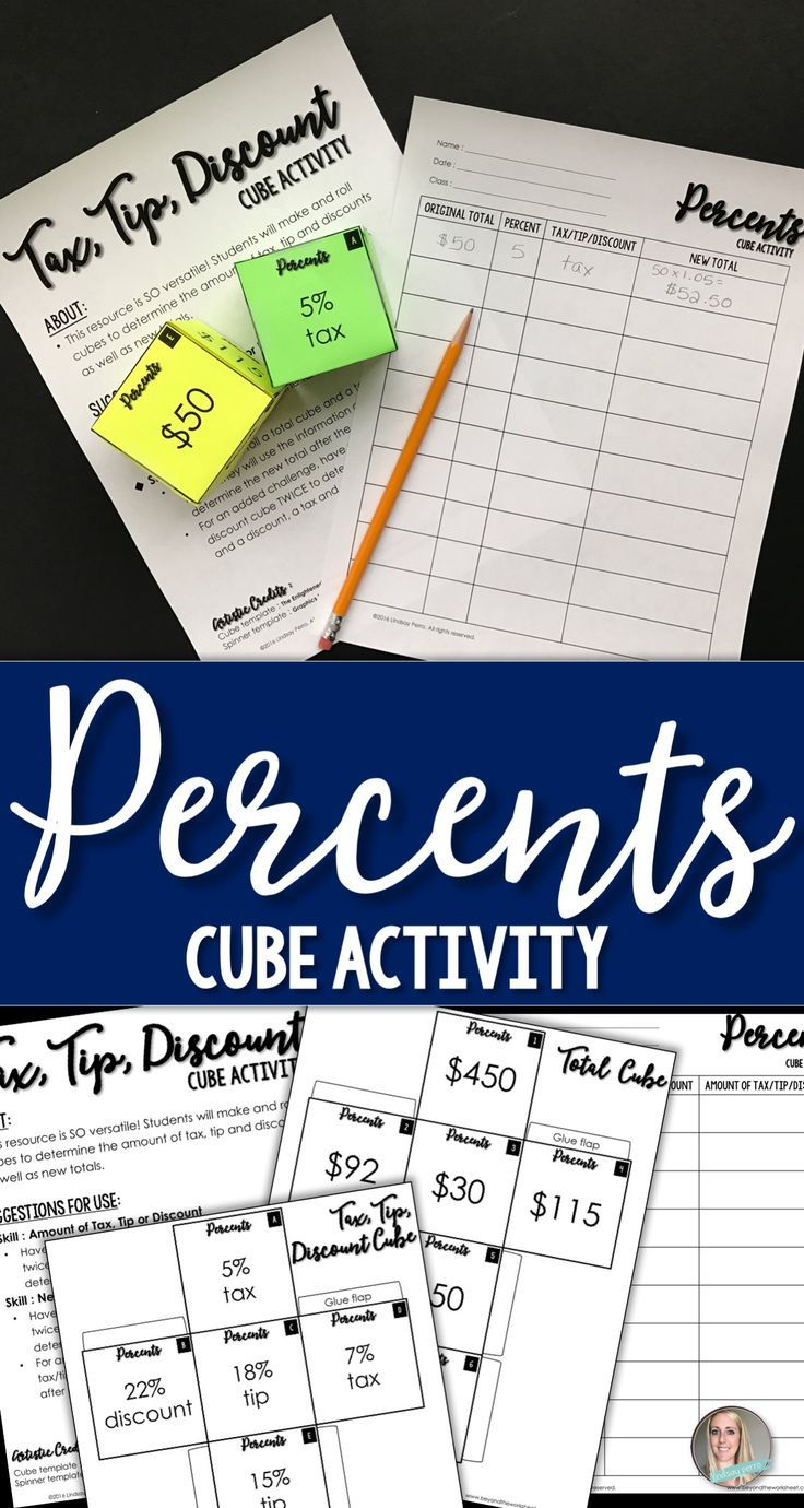 This resource provides a hands on and engaging way for students to practice finding the percent of a number using taxes, tips and discounts. It certainly isn't just another percents worksheet!   This would work great for math stations and cooperative learning.