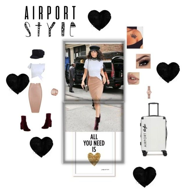 """""""Kendall Jenner Airport Look"""" by dezzi17 on Polyvore featuring CalPak, Topshop, 424 Fifth, Sibling, Laura Ashley, Tartesia, kendalljenner and airportstyle"""