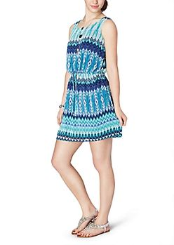 Belted Blue Chevron Dress   Casual   rue21
