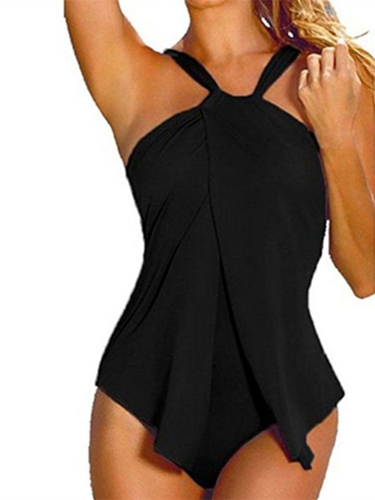 Halter One Piece Women Solid Slim Bikini Summer Swimsuit
