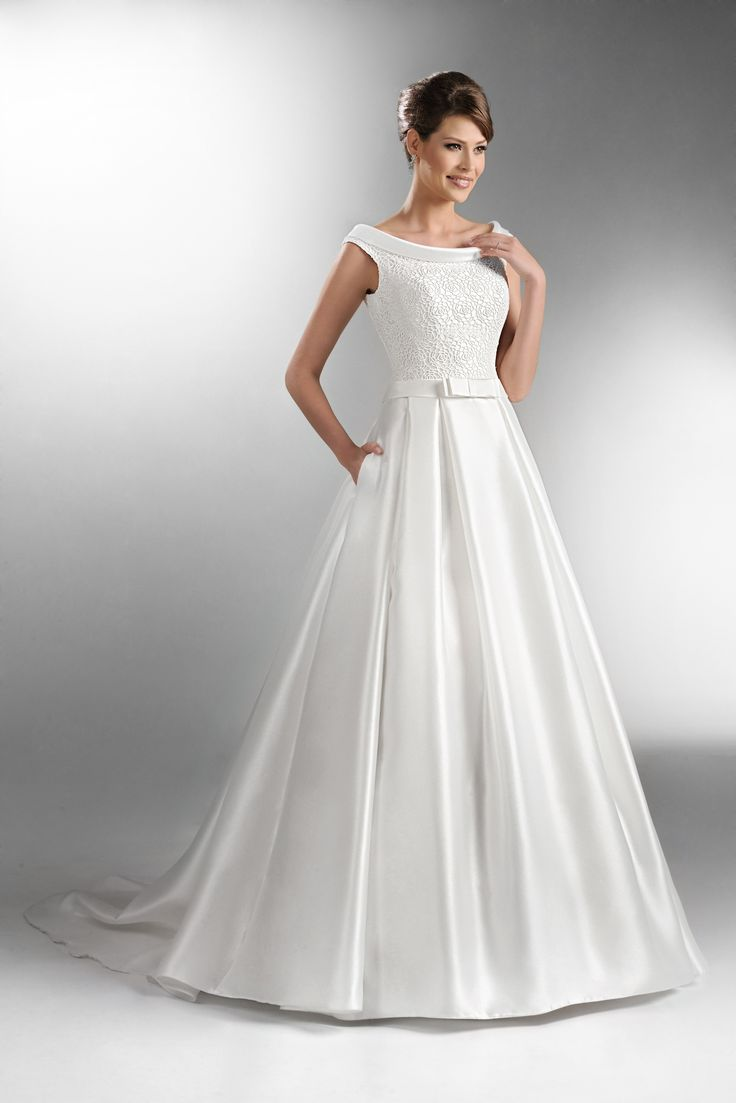 TO 505 By The One Elegant Bridal Dress With Lace Bodice And Boat Neck Top Plain Full Skirted