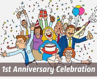 1st Anniversary | Cartoon pics, Work anniversary, 1st ...