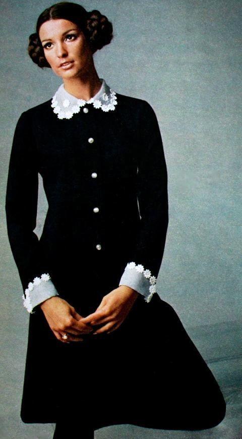 Black dress with white lace collar and cuffs, Burda Moden November 1968