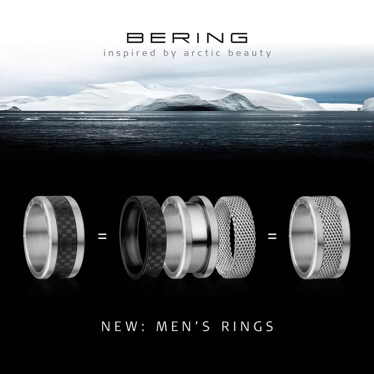 For Men: rings of Arctic Symphony; BERING jewellery; Twist & Change System