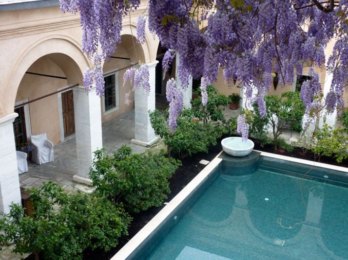 kavala hotel, pool and blooms