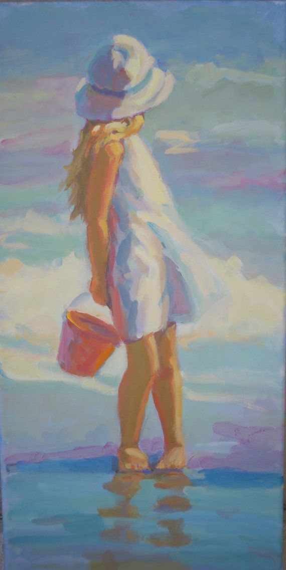 BEACH GIRL blonde girl on the beach, 12 x 24 original painting on stretched canvas,  impressionist, acrylic painting, Lucelle Raad Art
