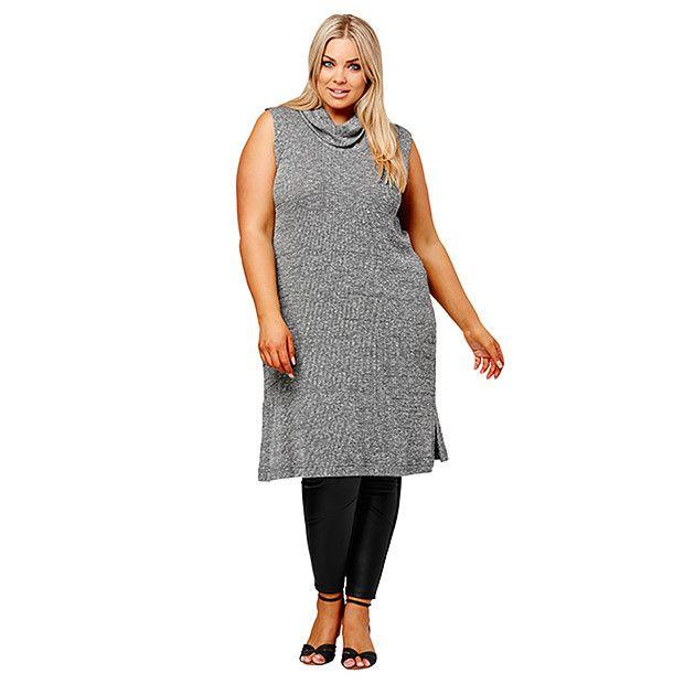 Belle Curve Sleeveless Knit Tunic - Grey | Target Australia