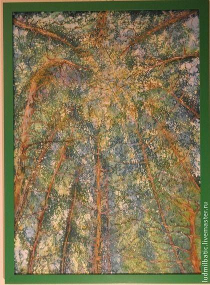 Когда древья были большими.... Картина 'Когда деревья были большими...' выполнена на шелке в технике горячий батик. При написании был выбран необычный ракурс. А за счет использования природных цветов, картина получилась по настоящему интересной и естественной.