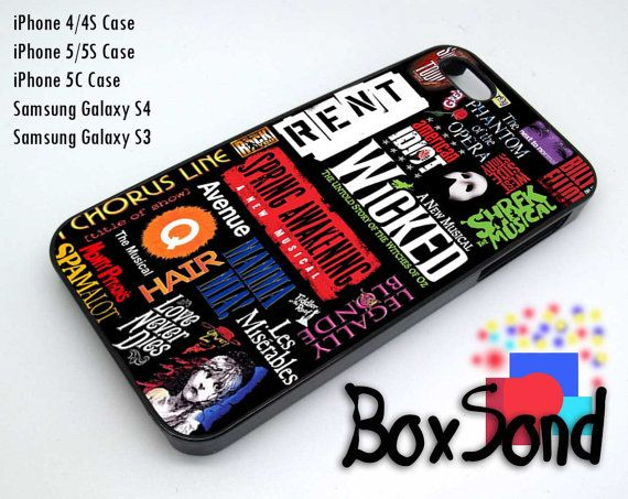 Wicked Broadway Musical For iPhone 4/4S iPhone 5/5S/5C Samsung Galaxy S3 Samsung Galaxy S4 Hard Plastic Rubber case