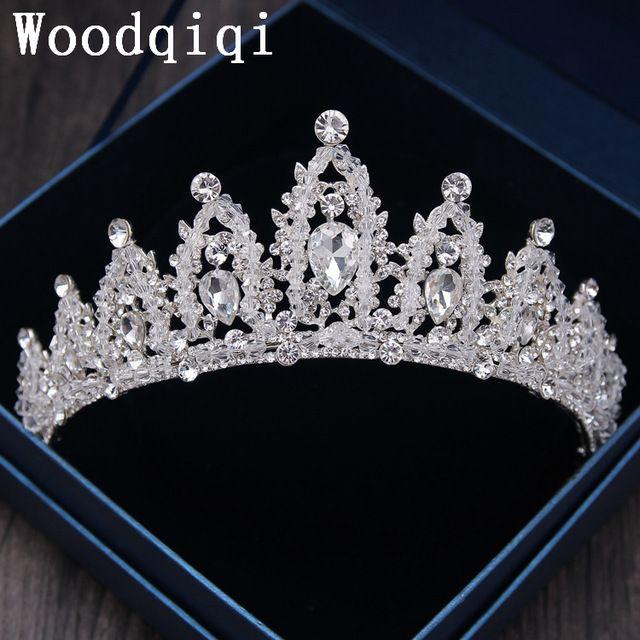 US $18.80 Woodqiqi Kronen zilveren kralen Leaf Bridal Tiara Haarband Hoofddeksel Wijnstok Kronen Tiara Bruiloft Haaraccessoires Bruid