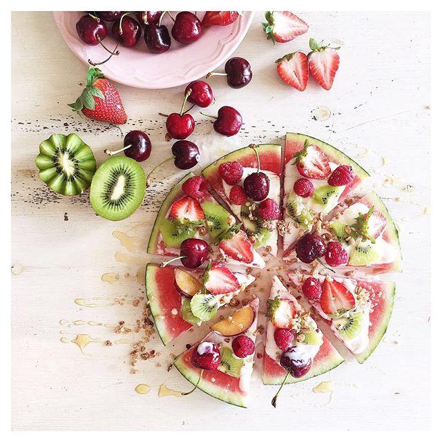 WATERMELON PIZZA..topped with cherries, strawberries, raspberries, natural yogurt, agave, granola and kiwi #recipes
