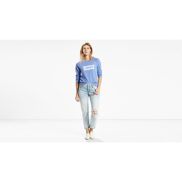 Levi's The Classic Crewneck (880 ZAR) ❤ liked on Polyvore featuring tops, logo colony blue, blue top, graphic tops, blue knit top, white batwing top and white top