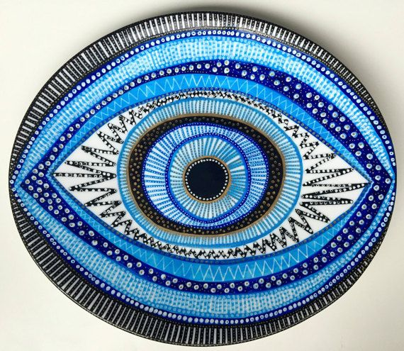 Decorative Plate Evil Eye Plate Original by biancafreitas