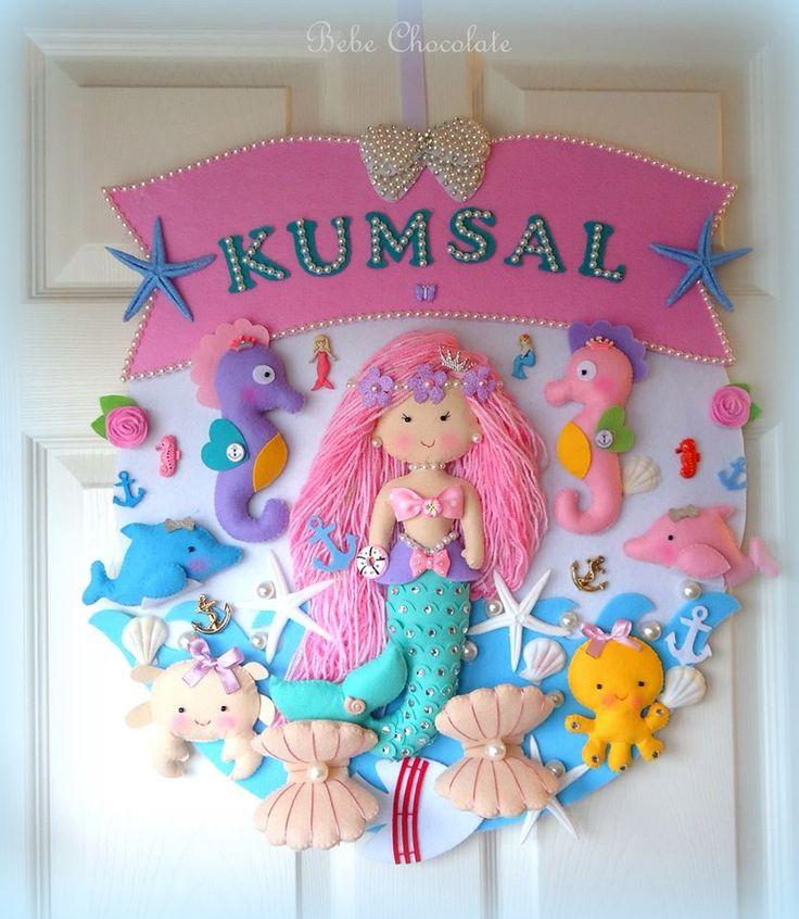 deniz kızı, keçe, takı yastığı, yastık, pillow, felt mermaid, bal kabağı araba…