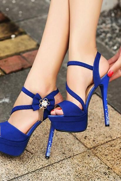 Ladies Royal Blue Peep Pumps Crystal Open Toe Wedding Stiletto High Heels Shoes