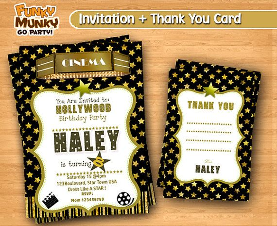 Hollywood Movie Star Birthday Invitation  Red by funkymunkygoparty