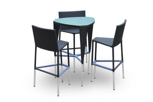 """Phanes, 4 Piece Dining Set By Luxus Outdoor Patio Furniture Set Garden Table Chairs Wicker Home Backyard Porch Bar Set by Luxus B. $750.00. Bar Table ( with tempered frosted glass .3"""" ): 28.7"""" x 26.8"""" x 41.7"""". 4 Piece Dining Set. The rattan is similar to natural fiber but totally resistant to outdoors.. Aluminum Frame and All Weather Wicker. 3 Bar Stools: 24.8"""" x 20.9"""" x 42.1"""". The Phanes 4 Piece Dining Set by Luxus B, features 3 stools with seat cushions and a ..."""