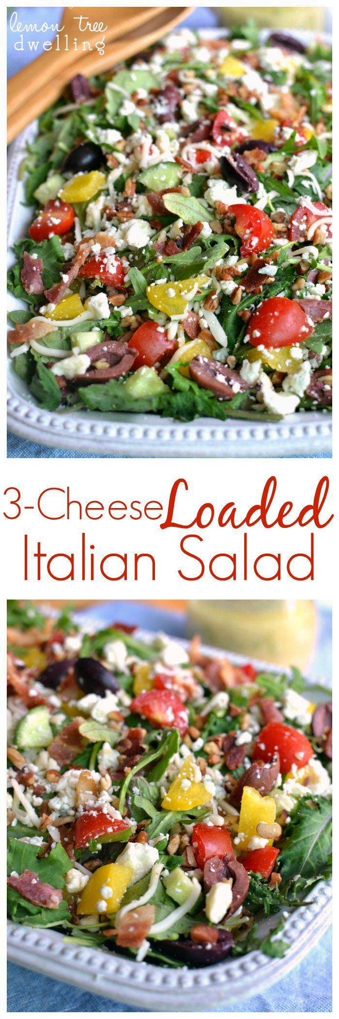 3-Cheese Loaded Italian Salad -made with Earthbound Farms Kale Italia #organicbound #sponsored @earthboundfarm