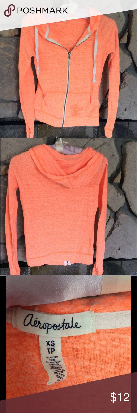Bright Orange Zip-Up Hoody Aeropostale bright orange zip up hoody... hardly worn, great condition.  Sz XS Juniors. Aeropostale Tops Sweatshirts & Hoodies