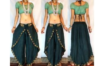 GYPSY BOHO INDIAN HAREM DANCING PANTS TROUSERS H26 Image Pour Iris