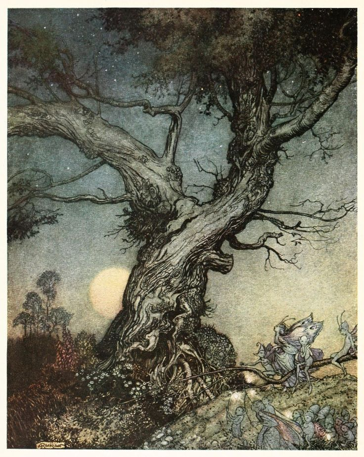 Arthur Rackham, Imagina 1914 by Julia Ellsworth Ford.  Rackham (1867–1939) was an English book illustrator, books include: Rip Van Winkle, Peter Pan, Alice in Wonderland and The Wind in the Willows.  Learn more http://arthur-rackham-society.org/