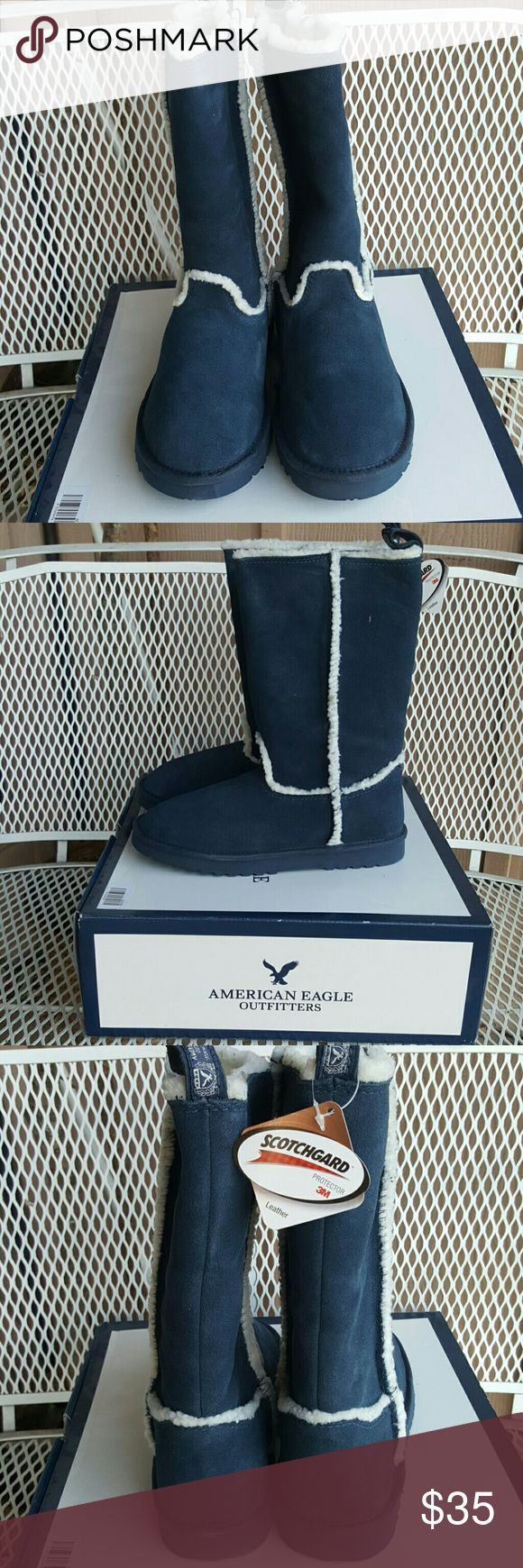 Size 9 NEW W/TAGS American Eagle Outfitters boots Navy blue gorgeous leather fuzzy boots American Eagle Outfitters Shoes Winter & Rain Boots