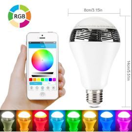Ampoule Led Bluetooth Sans Fil Avec Haut-Parleur Couleur Changeante Lampe Led Rgb E27 5w Support App Contrôle Télécommande Compatible Avec Apple Iphone Ios, Ipad, Tablettes  Android Smartphone