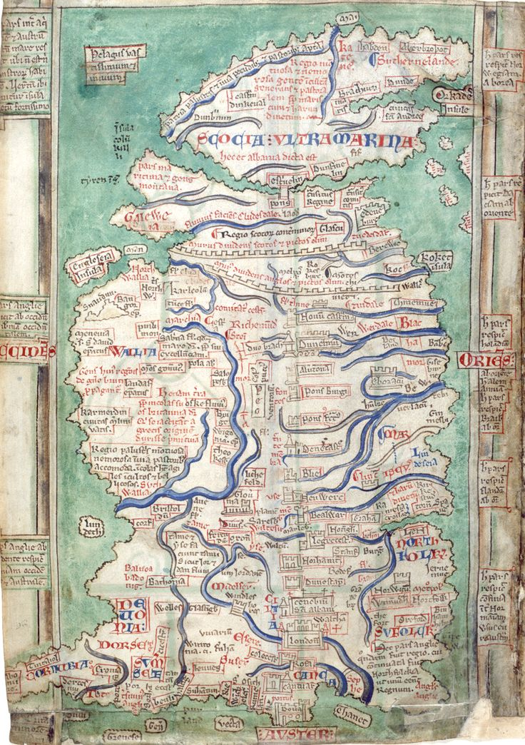 A medieval view of Britain, one of four surviving maps by Matthew Paris, historian and cartographer at St Albans Abbey, [London, British Library, MS Cotton Claudius D VI, f. 12v]. It once belonged to a manuscript of the Abbreviatio Chronicorum of Matthew Paris, dating from the 1250s. Other maps of Britain by Matthew Paris in two other St Albans' manuscripts held at the British Library, Royal MS 14 C VII and Cotton MS Julius D VII, and in another at Corpus Christi College, Cambridge (MS 16).