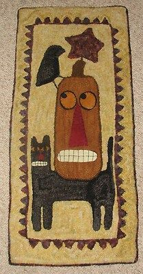 "Primitive Hooked RUG Pattern ""Fall Friends"" 