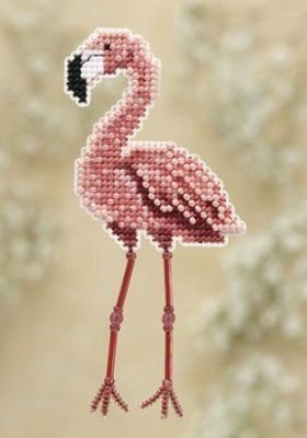 Mill Hill Flamingo - Beaded Cross Stitch Kit. Kit Includes: Beads, treasures, perforated paper, magnet back, floss, needles, chart and instructions. Finished si