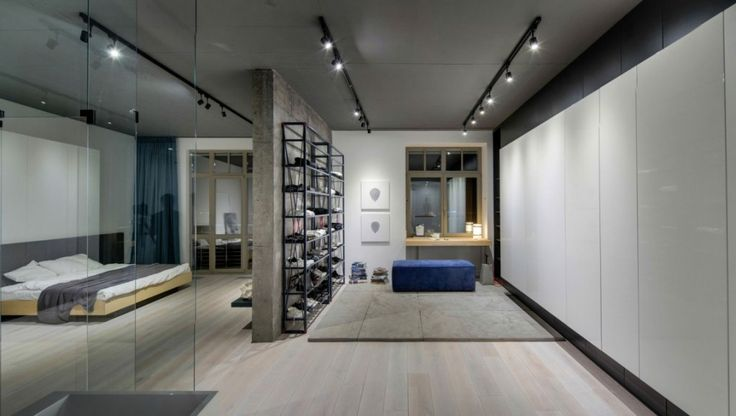 Loft: Cool Urban Loft in Kiev, Ukraine Designed by 2B Group, Nice Wardrobe and Powder Room Area from Urban Loft Designed by 2B Group Featuring Shoes Wall Rack Unit and Dressing Table and Mirror also Blue Suede Ottomans