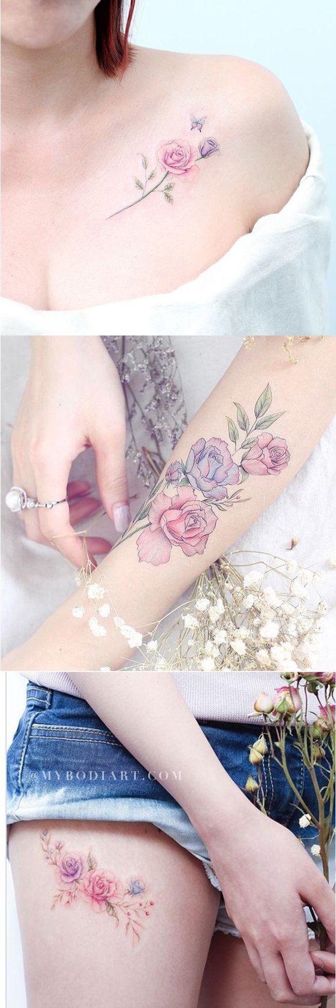 Ideas delicadas del tatuaje de la acuarela para las mujeres Flores de ópalo Flor Hombro azul rosado ……   – watercolor Tattoos