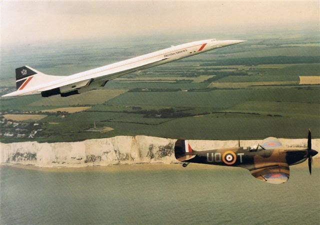 British Airways Aérospatiale-BAC Concorde 102 G-BOAA and Royal Air Force Supermarine Spitfire P7350 / UD-T commemorating Battle of Britain Day over the Kentish coastline, 15th September 1990. (Photo: After The Battle)