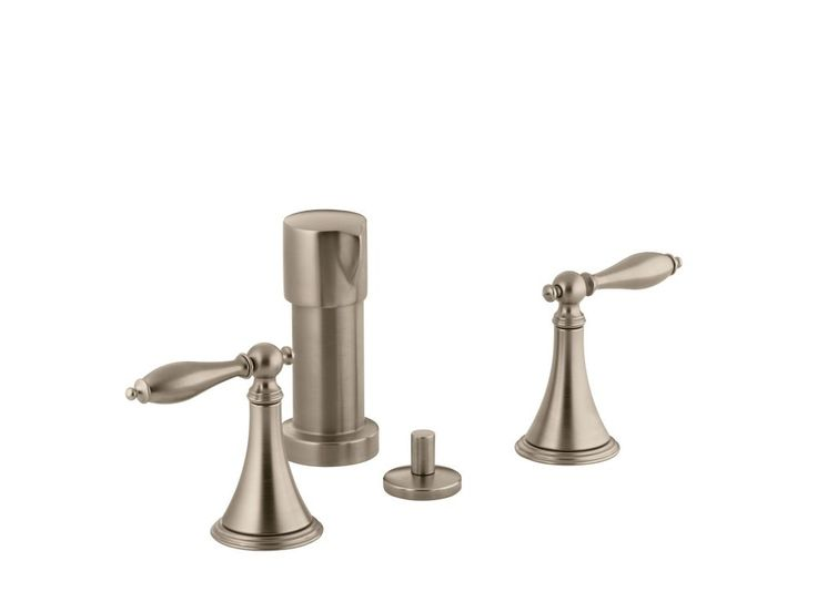 Finial Traditional Bidet Faucet with Lever Handles and Matching Handle Inserts