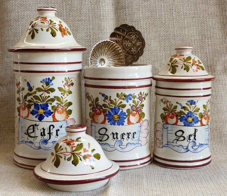 Vintage Kitchen Canisters. French Kitchen Canisters. Storage Jars. Ceramic Kitchen  Canisters. Floral