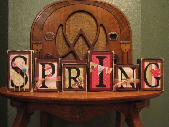 Spring Sign  Whimsical Spring Word Blocks by PunkinSeedProduction, $36.00
