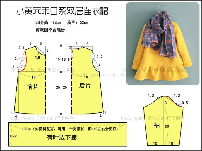 小黄乖乖日系双层连衣裙 <wbr>附剪裁图 <wbr>BB秀