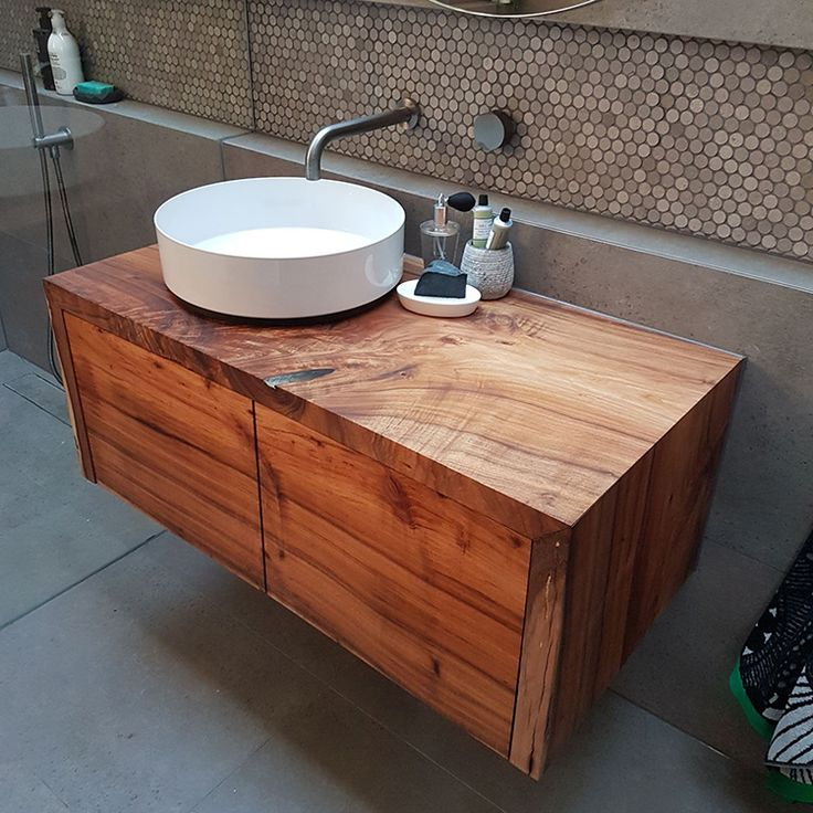 This incredible Tasmanian Blackwood floating waterfall end vanity unit has been featured in Josh and Elyse's Main Bathroom in The Block 2017. Available in a range of sizes, with 100% Australian timber slabs including Red Gum, Golden Elm, Tasmanian Blackwood and Wormy Chestnut.