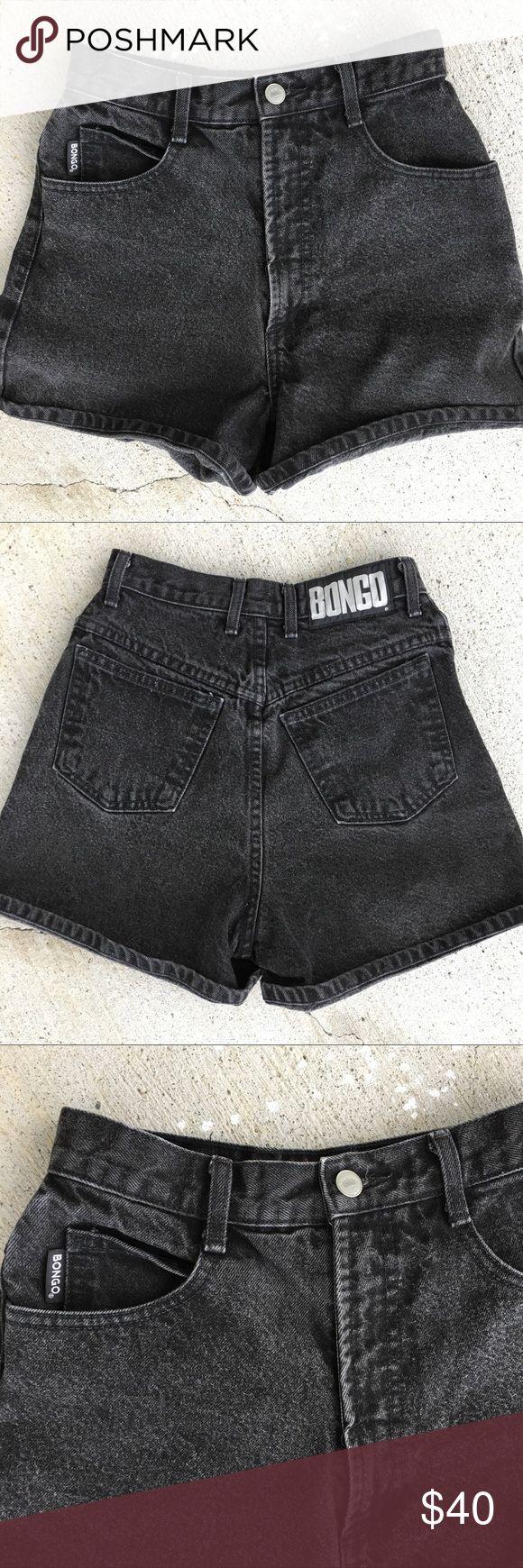 "Vintage Bongo Shorts Sz 24 Brand Bongo  Color Black Fade, Charcoal  Waist 12"" Across  Rise 14""  90's Perfectly Faded 👌 #vintage #bongo #shorts #90s #highwaisted #highrise #highwaistjeans #highwaistshorts #momshorts #momjeans #posh BONGO Shorts Jean Shorts"