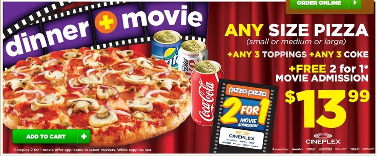 Pizza Pizza - FREE 2 for 1 Movie Admission at Cineplex with Any Size Pizza + Any 3 Topping + 3 Coke Cans for $13.99 - pizza-pizza http://www.groceryalerts.ca/pizza-pizza-free-2-1-movie-admission-cineplex-size-pizza-3-topping-3-coke-cans-13-99/