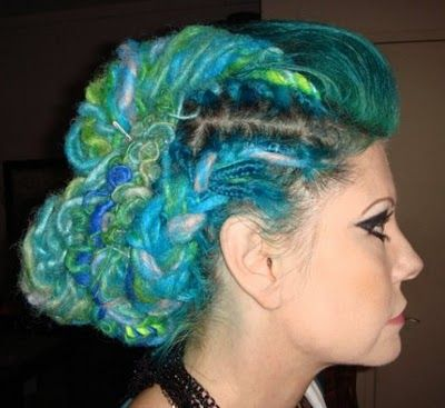 My hairdo around 3 years ago (fake hair curly dreads in an updo)