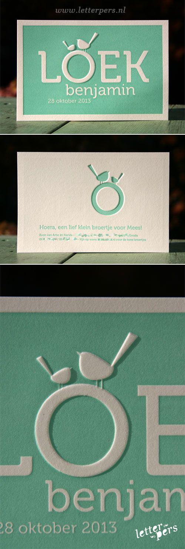 letterpers_letterpress_geboortekaartje_Loek_groen_vogeltjes_preeg_lief