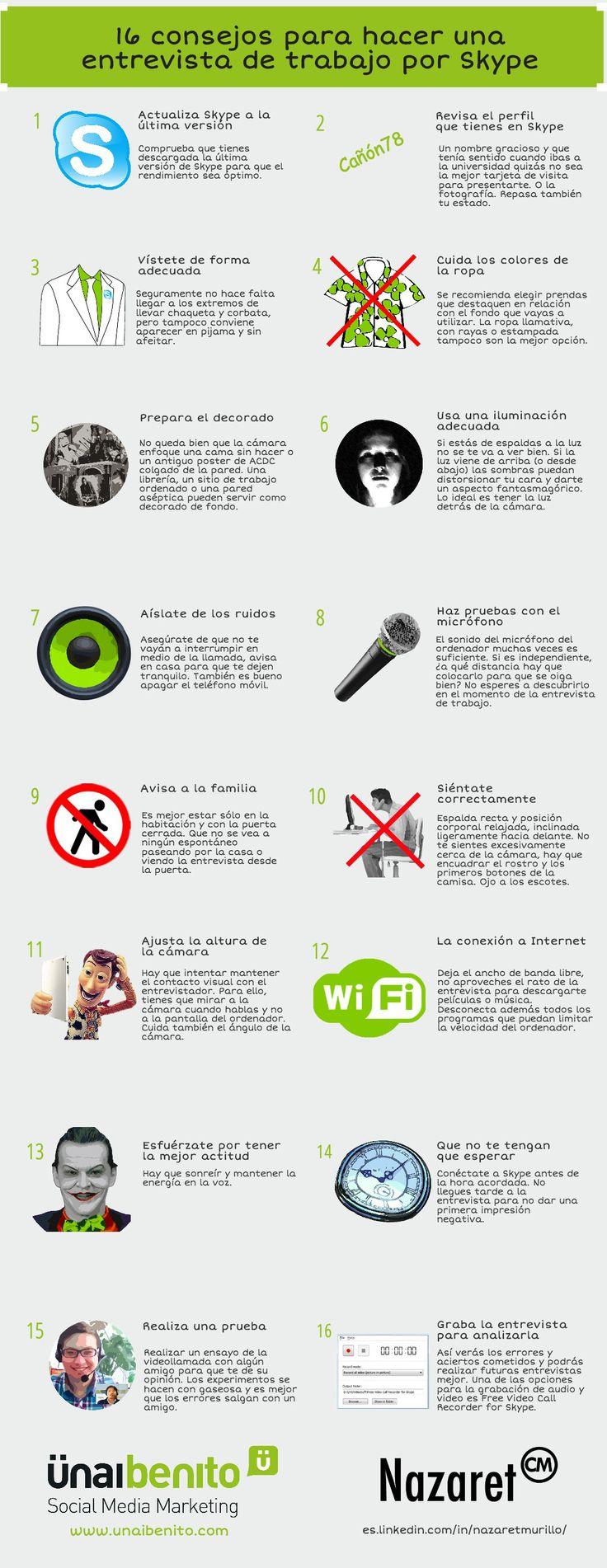 16 consejos para hacer entrevistas de trabajo con Skype Vía: www.unaibenito.com #infografia #infographic #empleo