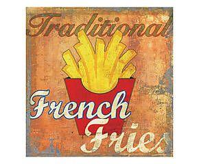 Stampa fine art su canvas con telaio in legno French Fries - 50x50x4 cm