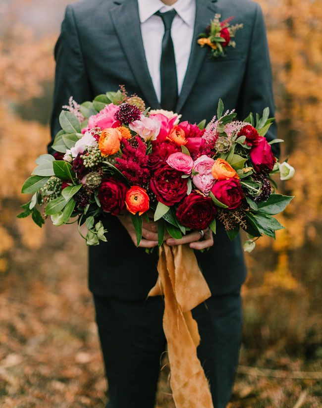 609 best images about fall wedding style on pinterest - Red garden rose bouquet ...